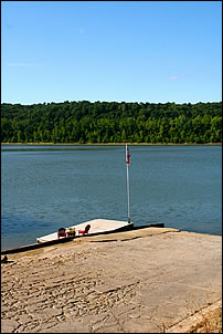 double wide concrete boat ramp on the Ohio River