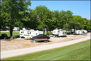 even interior campsites are large enough for RV, vehicle and boat trailer