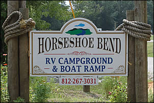 entrance sign for Horseshoe Bend RV Campground, Cabins & Boat Ramp